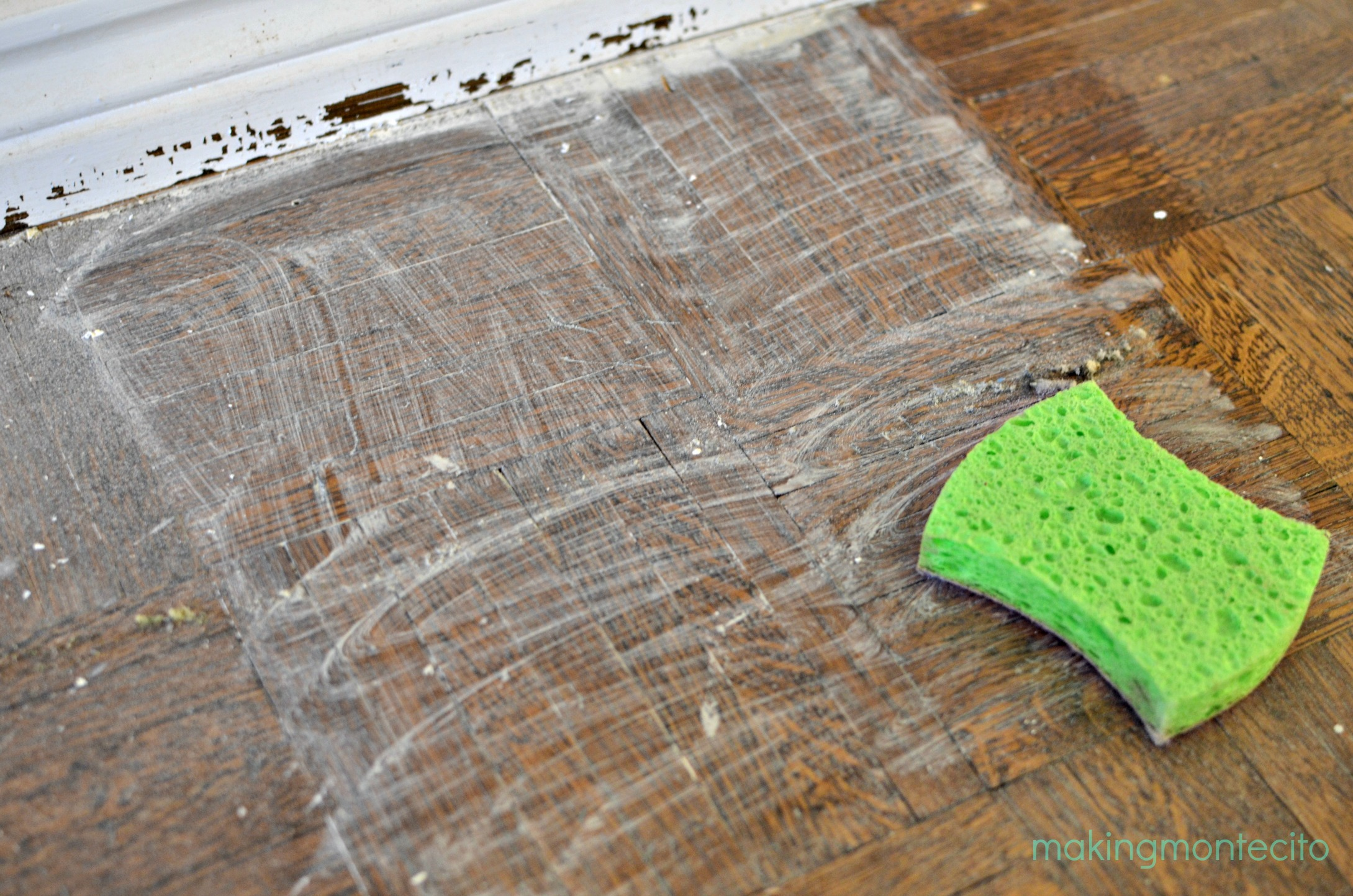How to remove paint from hardwood floors - Making Montecito Paint Removal Process 1